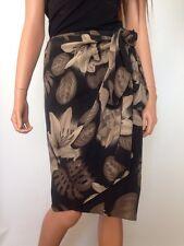 Dana Buchman 100% Silk Floral Print Wrap Skirt, Size 14