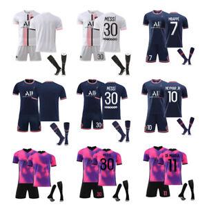 21/22 PSG Home Away Soccer Training Suits Kids Football Kits