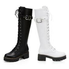 Women's Fashion Zipper Chunky Heel Mid Calf Knee High Boots Outdoor 41 42 43 D