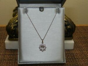 Zales Oval White Sapphire Starburst Frame e Sterling Silver Necklace Pedant NWT