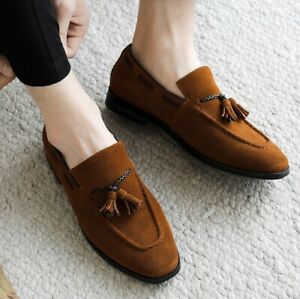 Mens Moccasins Low Heel Suede British Slip On Tassels Loafers Casual Shoes 38-48