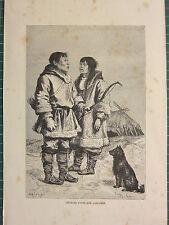 C1890 antica stampa ~ Chukchi Tipi & Costumi