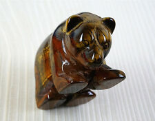 Lifelike Natural Tiger Eye Stone Handmade Bear Figurine D0041