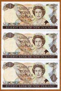 SET New Zealand, 3 x $1, Consecutive Trio,  ND (1989-1992), P-169c, QEII, UNC