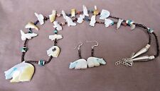 Zuni Mother of Pearl Fetish Necklace & Earrings by Georgianna Quandelacy JN0237