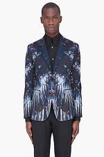 ALEXANDER MCQUEEN Mens NWT Black Blue Petrol Wool Feather Print Blazer Jacket 50