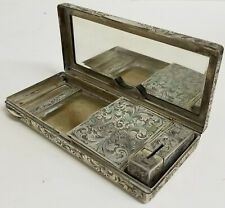 Antique Italian 800 Silver Engraved Makeup Compact Lipstick Floral Italy