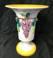 Vintage Italian Hand Made Art Pottery Vase Signed Italy Layered Ceramic Grapes
