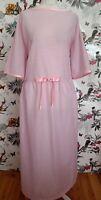 *Rubebee* Handmade White Pink Cotton Maxi Dress Size 26 28 Laura Ashley Inspired