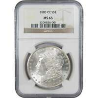 1883 CC $1 Morgan Silver Dollar US Coin MS 65 NGC