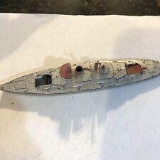 Vintage Tootsie Toy Chicago 1930s Metal Wwi Era 12 Gun Battleship Boat Toy