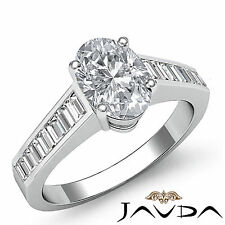 Oval Diamond Channel Set Classy Engagement Ring GIA I SI1 14k White Gold 1.85 ct