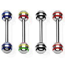 "4pcs Set Steel Epoxy Stripe Barbell Tongue Rings 14G 5/8"" (16mm) Nipple Rings"