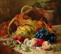 Oil painting Eloise Harriet Stannard - Still life with fruit and flowers peaches