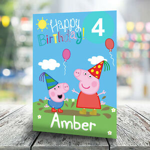 Peppa Pig Birthday Card - Personalised With Any Name and Age
