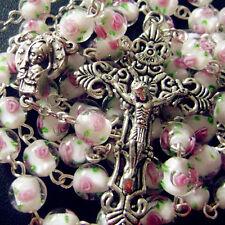 ROSE BEAD ROSARY SILVER CROSS 100% Handmade Veluriyam CRUCIFIX CATHOLIC NECKLACE