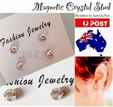 2x Earring Crystal Rhinestone NO Piercing Magnetic Studs 5mm Round High Quality