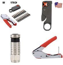 New listing Coaxial Compression F Connector Stripper Tool Kit Rg6 Rg59 Coax Cable Crimper