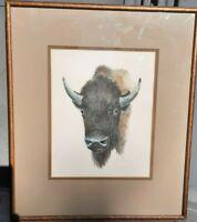 Emilie Touraine - Center Bust Portrait of Buffalo - AP - Signed - Dated - Framed