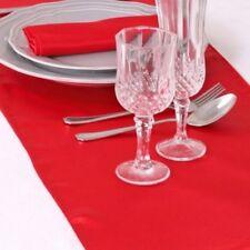 5 Chemins de Table Satin Rouge Décoration de Mariage