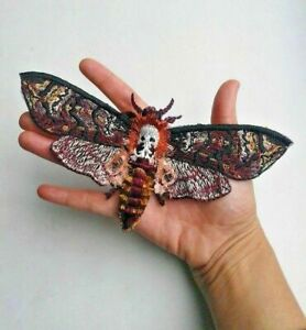 Butterfly Dead Head Insect Handmade Extra Quality Sew-On Embroidered Patch