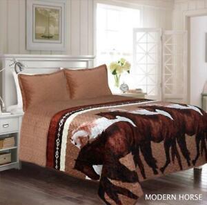 3 Piece Modern Horses Quilt Rustic Western Star Bedspread Comforter Bedding Set!