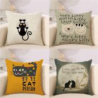 Cartoon Cat Pillow Case Sofa Waist Throw Cushion Cover Home Decor Gift flax Pop