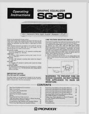 Pioneer SG-90 Stereo Graphic Equalizer Operating Instruction EQ - USER MANUAL