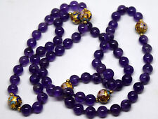Chinese Cloisonne, Natural Amethyst and Small 14K Solid Gold Beads Necklace