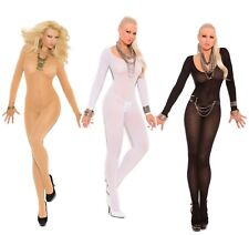 Full Length Long Sleeve Body Stocking Opaque Footed Hosiery Lingerie