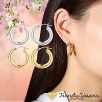 316L Stainless Steel Silver Gold Huggie Ear Hoop Medium Thick Cartilage Earrings