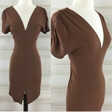 Tucker brown silk ruched short sleeve slit front sheath dress classic chic S