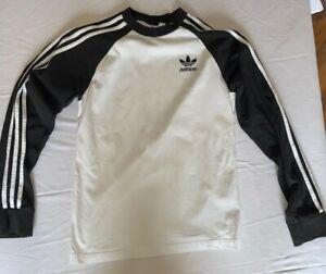 Vintage Adidas White Long Sleeve T-Shirt Small Retro Street Fashion Style