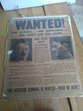 More details for rare original daily mirror 'hitler wanted' ww2 anti-nazi propaganda poster-1939