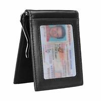 Mens Money Clip Wallet Leather RFID Slim Front Pocket ID Credit Card Holder Case