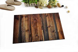 Retro Brown Wood Board Non-skid Door Bath Mat Rome Floor Carpet Home Shower Rug