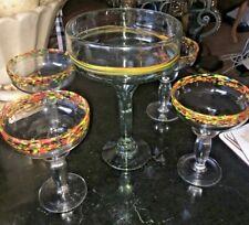 Mexican Margarita CONFETTI RIM HEAVY THICK  BLOWN GLASSES (4) 1 HUGE MGLASS 5PC