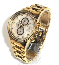 CITIZEN  ECO-DRIVE $495 LARGE GOLD CHRONOGRAPH WATCH CRYSTALS FB3002-53P BLING!