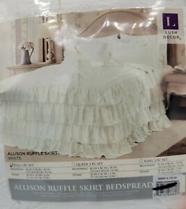 Lush Decor 3 pc Bedspread Set Allison Ruffle Skirt FULL Size. Terrific Frufru