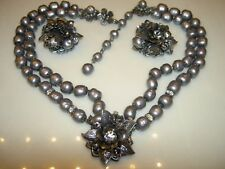VTG DeMario Baroque Pearl Rhinestone Flower Necklace Earrings Set Haskell Era