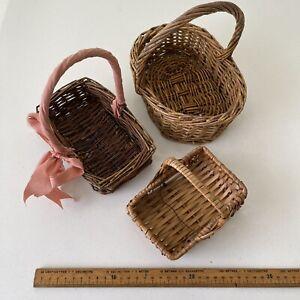 VINTAGE BASKETS Bundle Small WICKER Gathering Basket Flower Decor Storage