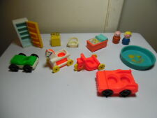 Vintage Fisher Price Little People Lot Refrigerator Pool Cars Ride-Ons Stove etc