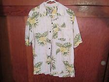 Caribbean Joe Let Go Hawaiian Style Shirt, Size Large L Mens, 100% Rayon Floral