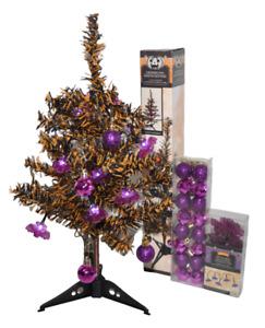 Halloween Tree Black Orange 18 inches Tall Purple Bat LED Lights Ornaments New
