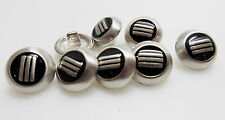 BUTTONS 8 PIECES Round Silver with Black Design Buttons 9/16""
