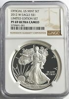 2012 W NGC PF69 ULTRA CAMEO PROOF SILVER AMERICAN EAGLE LIMITED EDITION SET