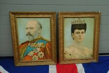 QUIRKY BRITISH  KING EDWARD V11 AND QUEEN ALEXANDRA FRAMED CHROMOLITOGRAPHS