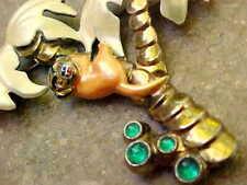 Vintage Pearlescent Enamel & Rhinestone Monkey in Palm Trees Pin / Brooch