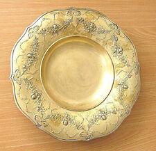 Poland Art Nouveau Brass Fruit Bowl Signed Repousse Art Craft