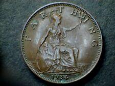 George V 1934 Bronze Farthing, grade average.